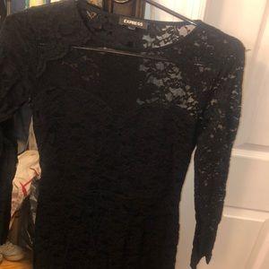 Black lace mesh dress